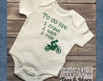 To Do List Onesie, Crawl Walk Ride, Cute Motorcross Bodysuit Motocross Dirt Biker Rider Fan Gift, Funny Shirt, Baby Onesie