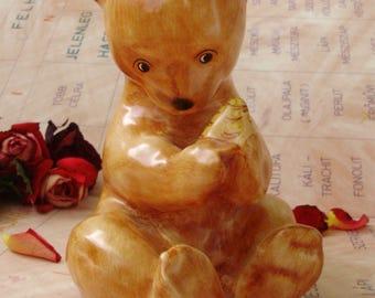 Large,Vintage  porcelain animal figurine, BEARS w.honeycomb,handpainted