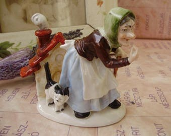 Vintage German porcelain Fairy Tale Figurine,the witch from the Gretel and Hansel with ginger bread house