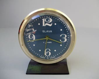 Vintage, golden and blue coloured ,Russian Slava Table/Alarm Clock,11 jewels,working condition