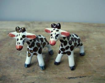 2 pcs Vintage porcelain figurine,Little Animal  Figurines,giraffe babies