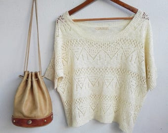 Beige Knitted Top / Japanese Vintage Style
