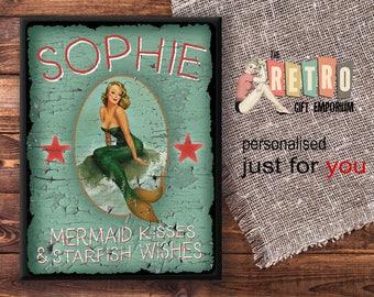 mermaid kisses custom wall sign retro metal plaque custom bedroom sign mermaid - Bedroom Wall Plaques