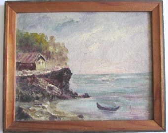 Rare Old Vintage Bulgarian Oil painting  -  SEA BY BOAT 1960's