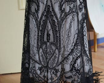 155 cm * 125 cm fabric lace fringe black REF 1031 wedding accessories