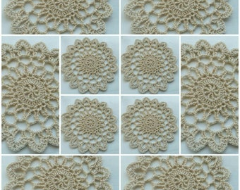 10 Vintage Crochet Doily Medallions  Small Craft Doilies 3,54 inch.