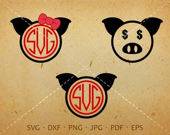 Pig SVG, Pig Monogram SVG with Circle Font, Pig Clipart Shirt SVG Silhouette Cricut Cut Files (svg, dxf, eps, png, jpg, pdf)