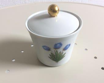 Cute vintage porcelain sugar pot floral design mid century by Schirnding