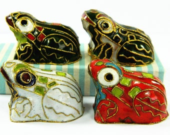 4 Vintage Cloisonne Copper Brass Enamel Frog Figurines Statues,Green Red White 3 Colors,Lovely Collection Decoration,Chinese Handicraft