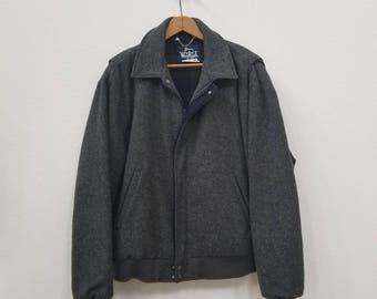 50s Woolrich Coat. Gray Wool Coat. Warm Jacket.  Size XL