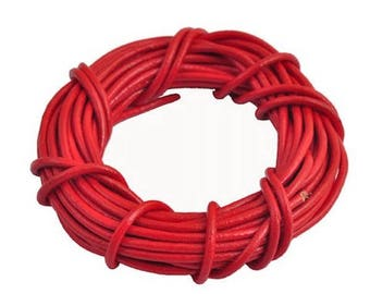 Red genuine leather cord 2 mm - 1 M