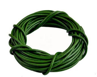 Green genuine leather cord 2 mm - 1 M