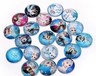 10 cabochons round glass embellishment pattern variety 12 mm