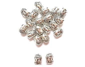 20 antiqued Buddha engraved 11mm x 9mm silver beads