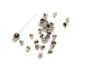 100 bead caps flower antique silver, diameter beads: 8mm - 12 mm