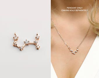 Rose Gold Plated Scorpio Constellation Pendant Crystal Zodiac Constellation Connector MignonandMignon Constellation Necklace - RZCP-SC