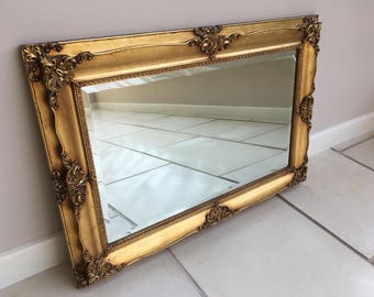 Stunning Rectangular Ornate and Elaborate Baroque/Rococo Vintage Gilt Over Mantel/Wall Mirror 50 miles free shipping