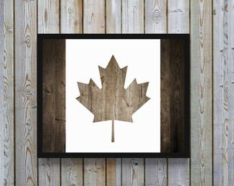 Canadian, flag, maple leaf, wood, wooden, rustic, A4 printable, download,gift for men,home,cabin man cave,