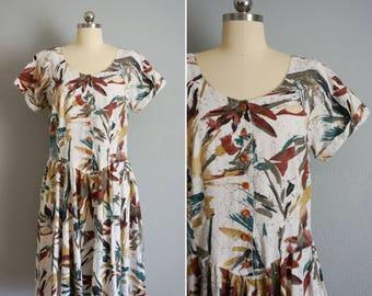 1980s Feuille cotton dress | 80s vintage dress | vintage botantical dress