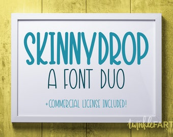 SkinnyDrop font duo | Handwriting fonts + commercial license! | Handlettered fonts, hand drawn fonts, commercial use fonts, font pairing