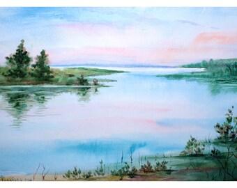 1+1=3! Digital Print, Watercolor painting, watercolor landscape painting, Original art, Summer landscape, Sunrise over the river
