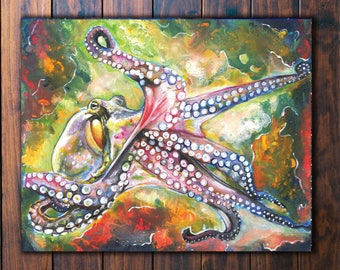 Colorful Octopus Wall Art- acrylic octopus painting, octopus decor, octopus wall art, octopus lover gift, sea life art, sea life painting