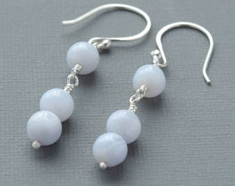 Blue Lace Agate Minimalist Dangle Drop Earrings with Sterling Silver Mounts Semi Precious Gemstone Beads Unusual Pale Blue Striped Stones