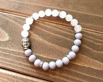 Lavender & Quartzite Buddha Bracelet~ Opaque Lavender Glass~ White Quartzite~ Silver Buddha~ Stretch Beaded Bracelet~ Gift for Buddhist