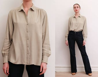80s Bone Colored Rayon Shirt / S-M