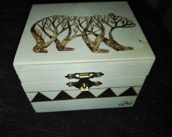 bear box pyrography
