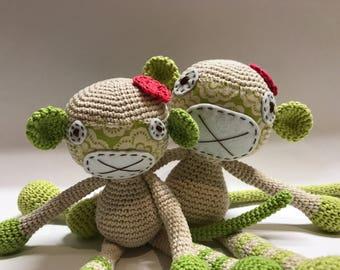 Crochet amigurumi; Soft toy; macaco de peluche; brinquedo para bebé;