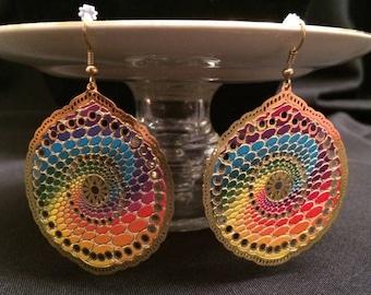 Multi-Color Filigree Dangle Earrings; Drop Earrings, Filigree Earrings, Rainbow Colored Dangle Earrings, Statement Earrings