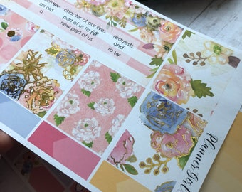 Gold Foil Floral New Chapter Weekly Kit Planner Stickers - For Erin Condren Life Planner