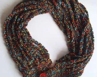 Crochet black/multicolour necklace/scarf