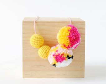 Yellow Mosaic Pompom Crochet Necklace   Fun & Bright Womens and Girls Necklace, Crafty Necklace, Pom Pom Necklace, Crochet Necklace