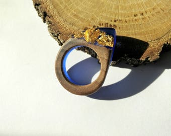 Wood Resin Ring, Made in Italy, Handmade Ring, B.Colors n.3, Unique piece, Wood resin jewelry, Handmade Jewelry