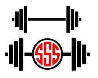 Barbell svg, Gym svg, barbell monogram svg, workout svg, fitness svg, monogram svg, svg, dxf, cricut, silhouette, svg files
