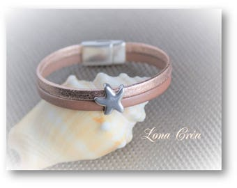 Bracelet leather cords gold pink and chocolate, ring and clasp silver plated Zamak, chic and elegant Bracelet
