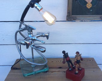 Upcycled deco industrial loft lamp vintage faucets