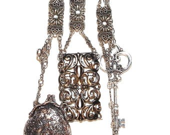 Vintage inspired silver Chatelaine