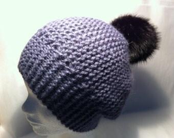 Wool Hat purple Alpaca with faux fur Pom Pom
