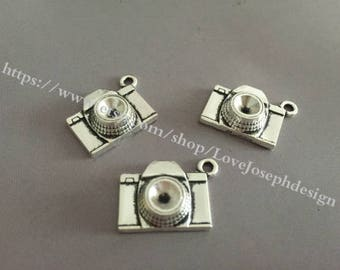 50 Pieces /Lot Antique Silver Plated 15mmx18mm Diamond Camera charms (#008)