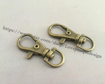 10 Pieces /Lot Antique Bronze plated 37mmx15mm Lobster claw clasp (#0223)