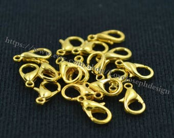 wholesale 100 Pieces /Lot gold plated 10mm 12mm Class A Lobster claw clasp