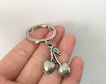 cherry keychain, cherry gifts key ring