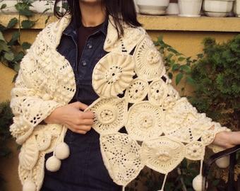 Shawl poncho crocheted