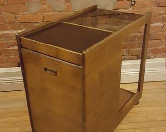 Walnut Bar Cart Serving Cart Mid Century Modern