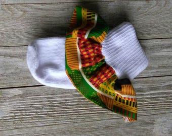 African print ruffle sock, Kente' cloth socks, church socks, baby ruffle socks, school socks, Ankara socks, Cultural fabric