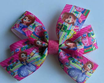 Princess sofia hair bow, back to school hair tie, character hair bow, back to school hair bow, pink ponytail bow, Sophia hair tie