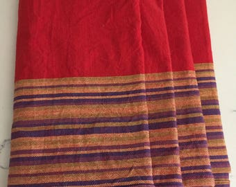 Red Linen Napkins, Striped Linen Napkins